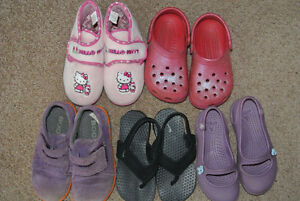 Bogs Shoes, Crocs and Nike Sandals, Hello Kitty Slippers- Size 9
