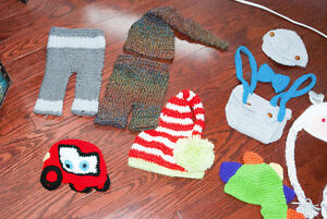 0-3months and up crochet hats and outfits
