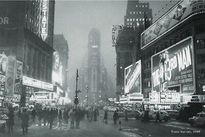 (VINTAGE PHOTO ART PRINT - New York City TIMES SQUARE, 1949 NYC 24x36 NY Poster)