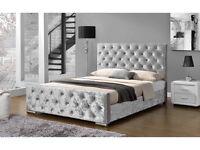 Crushed Luxurious Velvet Bed#Diamanté#