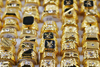 Gold Plated Crystal Rhinestone Men's Luxurious Rings