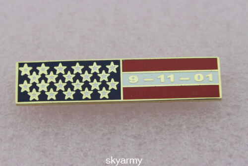 Uniform Citation Bar American Flag 09-11-01 Bar Lapel Pin