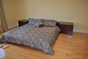 bed frame + 2 night table - granite top