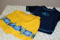 Baby Boy PLACE Swim Trunks & Top Yellow/ Navy Size 18-24 Mths