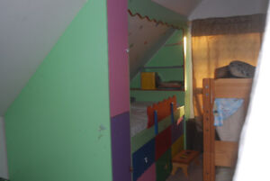 Builtin childrens bed with closet bookcase and drawers