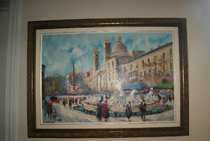 BEAUTIFUL OIL PAINTING - FOUNTAIN AT PIAZZA NAVONA IN ROME