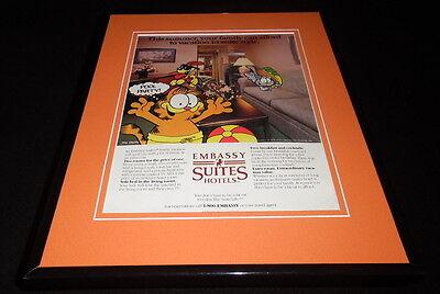 1987 Embassy Suites Hotels Garfield 11X14 Framed Original Vintage Advertisement