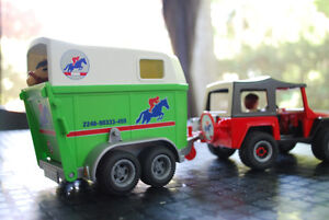 Playmobil Horse, trailer and jeep