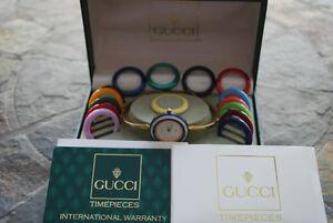 Vintage Gucci bangle watch includes diamond cut bezel!