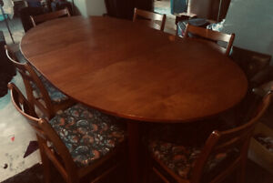 Vintage Teak Dining Set with 6 Chairs