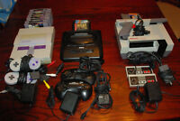 SNES NES and Genesis with games