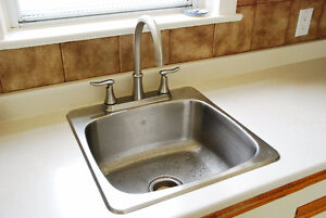 Stainless Steel Kitchen Sink With Moen Quinn Collection Faucet