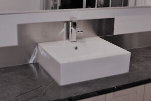 Modern Counter-top Sink, Faucet and Pop-up Drain