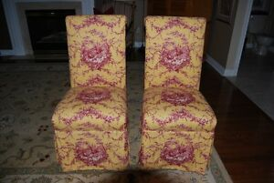 TWO FRENCH TOILE PARSON CHAIRS W MATCHING CAB KNOBS