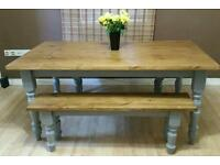 Brand new handcrafted pine Farmhouse Dining Table with benches