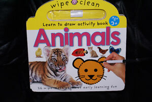 wipe clean activity book,7 puzzles lot for ages 3 plus