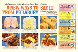 1958 2-page color magazine ad for Pillsbury Cake Mixes