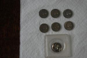 7 JEFFERSON NICKLE COIN LOT 1940d (2) '47 d&s '51d '54s 58p 1965