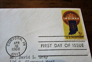 1966 Indiana Statehood Sesquicentennial 5 Cent First Day Cover Kitchener / Waterloo Kitchener Area image 3