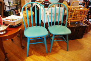 TWO ARROW BACK CHAIRS