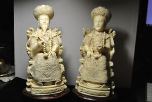 Hand Carved Faux/Resin Asian Chinese Emperor & Empress Figurines