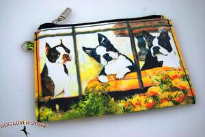 Boston Terrier Dog Bag Zippered Pouch Travel Makeup Coin Purse