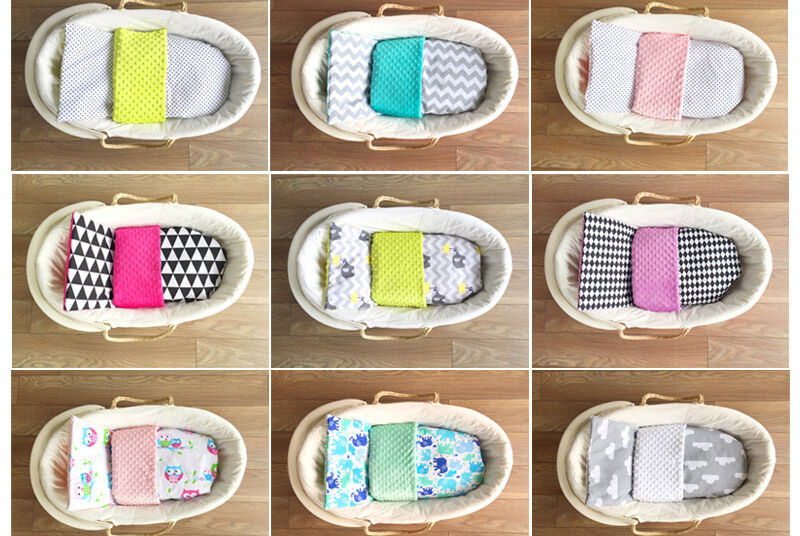 BABEES 4 tlg. Minky SOMMER SET Baby DECKE 50x75 + KISSEN Kinderwagen Wiege Bett