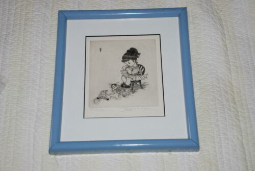 """Listed Chicago Artist Mary Ann Gaug Lithograph Little Girl """"Sewing"""""""