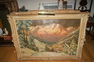 A. AMBROS Austrian Alps 1950s ORIGINAL OIL ON CANVAS PAINTING