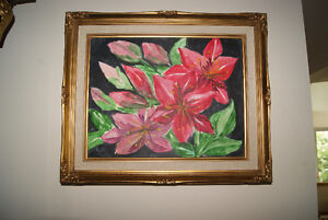 "ORIGINAL OIL ON CANVAS PAINTING RED FLOWERS 11"" BY 14"" IN FRAME"