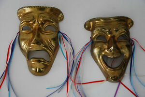Vintage Lacquered Brass Comedy / Tragedy Theater Masks Edmonton Edmonton Area image 2
