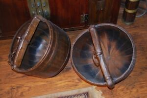 Chinese Antique Wooden Water carriers. (2)