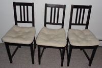 4x Ikea STEFAN Chair brown-black with JUSTINA Chair pads