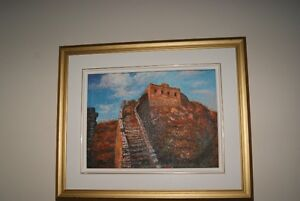 TABLEAU Original OIL ON CANVAS painting China Great Wall framed