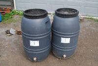 2 rain barrels with screens and taps