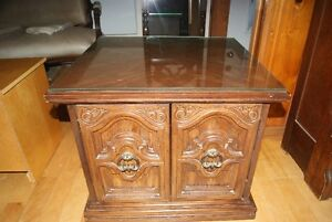 Vintage end table bar or nightstand with glass on top