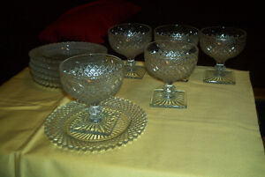 Miss America Clear depression Glass Sherberts & Plates