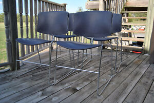 Mid-Century Chrome Purple Plastic Stacking Chairs~Steelcase x4 Belleville Belleville Area image 2