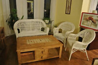 Wicker love seat and two chairs
