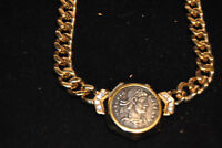Beautiful Ciner Signed Vintage Roman Coin Necklace