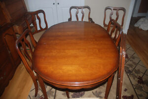 Mid-Century Cherrywood Dining Table and Hutch