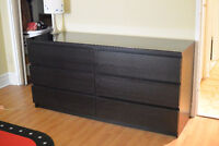 MALM 6 drawer dresser with glass top - $100