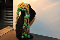 Vintage Brooch With Green Stones And Rhinestones Gold Tone Bea