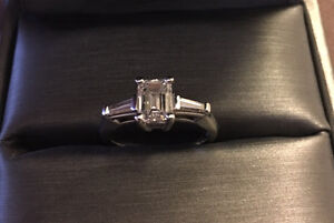 Engagement Ring - Emerald Cut 1 Carat (1.27 with baguettes)