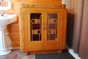 antique table & chair set and cabinet