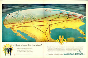 Extra Large 1950 2-page ad for American Airlines