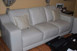 Nice Zachery Genuine Leather Sofa and Love Seat For Sale