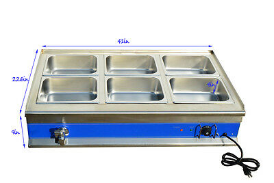 41in 6-pan Food Warmer Bain-marie Buffet Steamtable 1warmer612pans