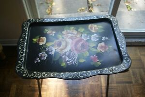 Beautiful large vintage metal tray with flowers on folding legs