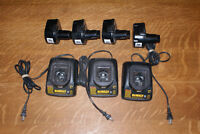 Four DeWalt 12 volt battery packs and three chargers